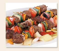 Grilled teriyaki steak kabobs: Mix 1 envelope of zesty italian good seasons dressing mix, 1/4 cup each cider vinegar,oil,soy sauce and 2 TBLS honey in cooking bad.  Cut steaks into cubes, add to mix and marinate overnight in frig.  Cut red onion, green pepper, red pepper, yellow pepper, yellow squash, zucchini.  Skewer and grill!  Throw away left over marinade!
