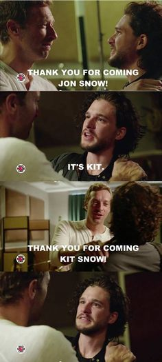 Kit Snow again.... ;-) Chris Martin and Kit Harington (from the Coldplay GoT musical for Red Nose Day US)