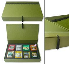 [tea box]  This is another approach to tea box, simpler, more modern, but I also love ...  Tea box, a selection of 8 different scents of Ahmad Tea,  34x21x5cm