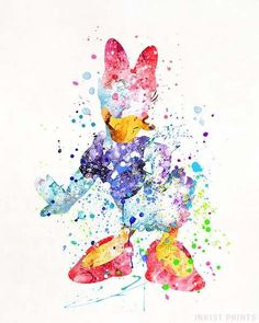 Daisy Duck, Donald Duck Disney Watercolor Wall Art Poster - Prices from $9.95 - Click Photo for Details - #disney #watercolor #babyroom #homedecor #nursery #DaisyDuck #DonaldDuck