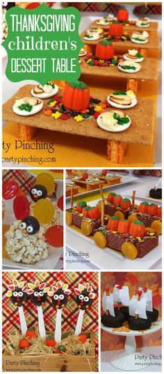 An adorable Thanksgiving dessert table just for kids with amazing miniature treats! See more party planning ideas at CatchMyParty.com!