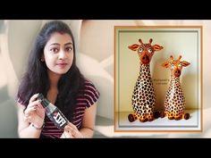 Small Plastic Bottles, Plastic Bottle Crafts, Diy Crafts For Gifts, Clay Crafts, Crafts For Kids, Detergent Bottles, Shampoo Bottles, Waste Bottle Craft, Giraffe Crafts