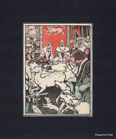 A lovely red and green tinted line illustration by Arthur Rackham - dated 1902 from a rare children's annual. I haven't been able to discover anything else about them so they may be of interest to collectors. An image of a medieval banquet, with king and queen sitting at the head of the table - being interrupted by a huntsman with his dogs chasing a deer - a lovely period illustration.