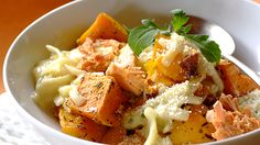 Pasta Alfredo with Salmon and Butternut Easy Pasta Dishes, My Cookbook, Salmon, Curry, Appetizers, Yummy Food, Meals, Dinner, Cooking