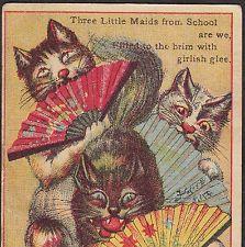 Danbury CT cat MIKADO 3 Little Maids Gilbert & Sullivan Advertising Trade Card