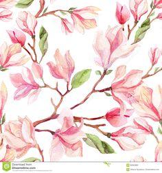Watercolor Magnolia Flower Seamless Pattern. Stock Illustration - Illustration of drawing, floret: 90563985