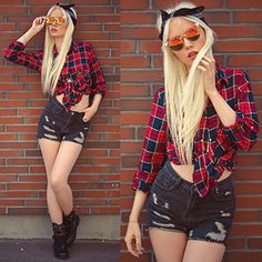 Oksana Orehhova - Choies Shirt, Choies Shorts, Choies Bandana, Cndirect Sunglasses - EMPOWERING PLAID