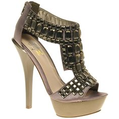 Miss Kg Hamilton Beaded Platform Sandal ($77) ❤ liked on Polyvore featuring shoes, sandals, heels, high heels sandals, zipper sandals, t strap sandals, platform heel sandals and platform sandals