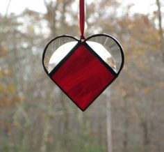 Stained glass small red heart suncatcher by DesignsStainedGlass