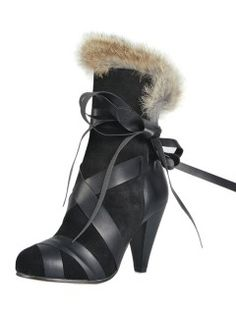 Shop Black Strap Tie Heeled Boots with Fur Trim from choies.com .Free shipping Worldwide.$117.99