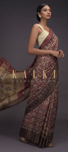 Buy Online from the link below. We ship worldwide (Free Shipping over US$100)  Click Anywhere to Tag Beige-Saree-In-Tussar-Silk-With-Maroon-Block-Printed-Floral-Jaal-Pattern-Online-Kalki-Fashion Indian Dresses, Indian Outfits, Party Wear Dresses, Wedding Dresses, Plain Saree, Printed Sarees, Designer Sarees, Sari, Beige