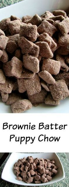 Batter Puppy Chow - peanut butter and chocolate are on overdrive in this delicious snackable treat. It was an instant hit!Brownie Batter Puppy Chow - peanut butter and chocolate are on overdrive in this delicious snackable treat. It was an instant hit! Puppy Chow Recipes, Chex Mix Recipes, Snack Recipes, Dessert Recipes, Yummy Snacks, Yummy Treats, Delicious Desserts, Sweet Treats, Yummy Food