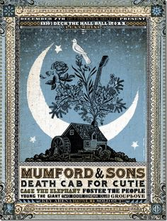 Mumford & Sons + Death Cab For Cutie + Cage The Elephant + Foster The People + Young The Giant + Two Door Cinema Club + Grouplove. Poster by Jon Smith The poster says already that tickets were sold. Gfx Design, Design Blog, Flyer Design, Print Design, Graphic Design, Tour Posters, Band Posters, Music Posters, Event Posters