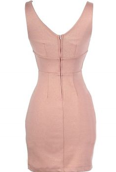 Femme Fatale Pocket Pencil Dress in Blush