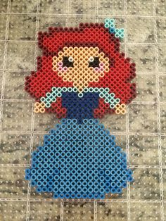 Disney's The little mermaid Ariel with blue dress perler bead