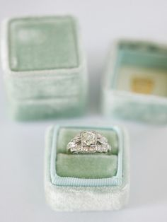 BEAUTIFUL ring boxes made out of vintage fabric