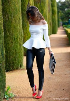 white top, black bottom, and red heels!!