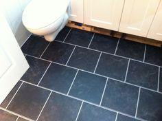 Polyflor Camaro Black Marble with an Ice Grout Strip Luxury Vinyl Tile Flooring, Grout, Black Marble, Bathrooms, Ice, Stone, Rock, Bathroom, Rocks