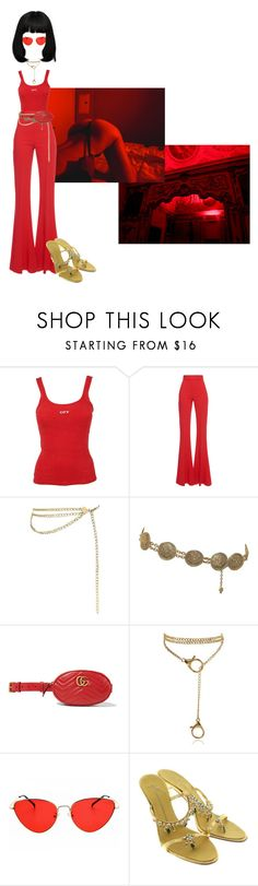 """""""You're gonna wanna leave with me."""" by thaijohnson ❤ liked on Polyvore featuring Off-White, Antonio Berardi, Chanel, Gucci and Giuseppe Zanotti"""