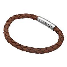 Single Brown Braided Leather Bracelet #Inox #jewelry
