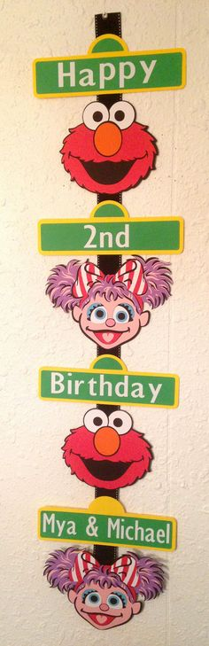 This personalized Elmo/Abby sign is just over 36 tall and each sign is approx. 9 wide. Can be customized with your childs name and age. 2 Year Old Birthday, Twin First Birthday, Elmo Birthday, Happy 2nd Birthday, 2nd Birthday Parties, Birthday Ideas, Elmo Centerpieces, Prince Day, Sesame Street Party