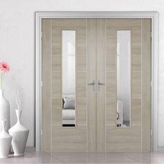 Laminate Vancouver Light Grey Door Pair with Clear Safety Glass - Prefinished - Lifestyle Image. Grey Doors, Oak Doors, Wooden Doors, Vancouver, Internal Double Doors, Walnut Doors, Door Fittings, Flush Doors, Contemporary Doors