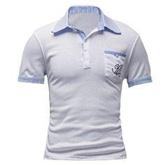 Buy Men's Casual Polo Shirt Short Sleeve Turndown Collar Single Chest Pocket + Free Shipping