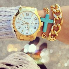 #watch #gold #turquoise #chain #links #bracelets