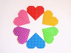 Origami Paper Hearts 6 Colors 24 Origami Hearts by KaoriCraft
