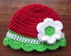 Crocheted Baby Girl Christmas Hat with Flower by KaraAndMollysKids