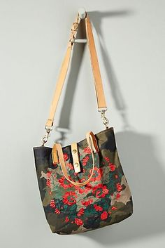 2aad3e16 Campomaggi Embroidered Camo Tote Bag New Shoes, Floral Embroidery, Bucket  Bag, Anthropologie,