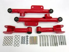 Control Arms Ford Mustang Rear Upper and Lower Control Arm Full Kit (Red) Premium Quality. For product info go to:  https://www.caraccessoriesonlinemarket.com/control-arms-ford-mustang-rear-upper-and-lower-control-arm-full-kit-red-premium-quality/