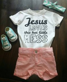 Jesus Loves This Hot Little Mess, Baby, Shirt, Handmade, Tee, Toddler, Arrow, Saying, Clothing, Tribal, Love, Trendy, Babies, Gold, Gift