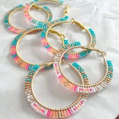 Brick-stitch beaded hoops as pictured above. Another option is a rolled stitch that wraps around the hoop. Buyers choice of style and colors Brick-stitch beaded Bead Jewellery, Seed Bead Jewelry, Fashion Jewelry Necklaces, Seed Bead Earrings, Diy Earrings, Jewelry Shop, Beaded Jewelry, Handmade Jewelry, Jewelry Making