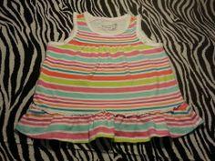 ~ Greendog Toddler  Baby Girl White Striped Ruffle Top Shirt ~ Size 24M ~EUC #Greendog