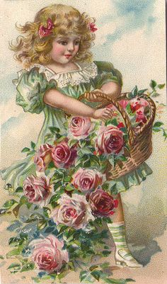 Girl with Roses Overflowing in Basket