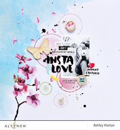 12x12 scrapbook layout with stamping and stitching. Create an interesting background using the Halftone Circles Stamp Set. www.altenew.com