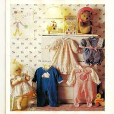 """A Baby Doll Clothes Pattern: Nightgown, Coveralls, Romper, Overalls with Blouse for Approx. 23"""" Tall Baby Doll"""