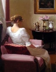 """""""Near the Window Reading"""" by Dennis Perrin - Oil painting Reading Art, Woman Reading, Reading Books, Paintings I Love, Beautiful Paintings, I Love Books, Good Books, Fashion Painting, Oeuvre D'art"""
