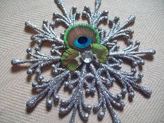 Silver Peacock Eyes Glitter Snowflake Christmas Holiday Ornament Bird Lot Avail | eBay
