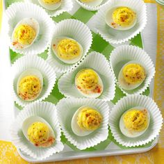 Garlic-Dill Deviled Eggs Recipe -In my family, Easter isn't complete without deviled eggs. Fresh dill and garlic perk up the flavor of these irresistible appetizers you'll want to eat on every occasion. —Kami Horch, Calais, Maine