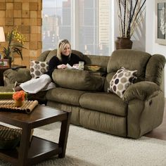 Picture Of Inch Reclining Sofa With Built In Fold Down Tray Table