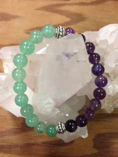 Amethyst and Green Aventurine Bracelet with silver details by BTUbythesea on Etsy