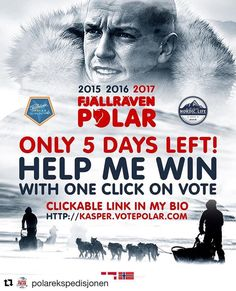 Skal vi hjelper Kaspar? Besøk hans profil @polarekspedisjonen. #reiseliv #reiseblogger #reisetips  #Repost @polarekspedisjonen with @repostapp   ONLY 5 DAYS LEFT!!! Help me win with only 1 click on the vote button. Find a clickable link in my bio! Im fighting for the third year in a row to represent Norway in Fjällräven Polar 2017 a 330km extreme Arctic Expedition. If you have any groups Facebook Pages or just a personal Facebook please share the link http://ift.tt/2g9MxSw with your friends…