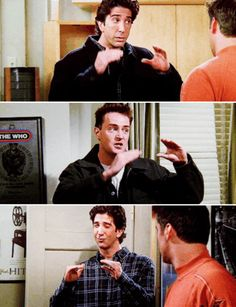 Ross asking Joey and Chandler to Keep it down show - Marina Serie Friends, Friends Cast, Friends Episodes, Friends Gif, Friends Moments, I Love My Friends, Friends Tv Show, Friends Forever, Chandler Friends