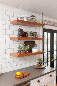 Open Shelving in Farmhouse Kitchen