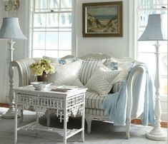 Coastal Living Room Décor ~ I'm noticing the painted paneling.been wanting to do this to my living room for several (! Cottage Living, My Living Room, Cottage Chic, Coastal Living, Living Room Decor, Living Spaces, Cottage Style, Coastal Style, Coastal Decor