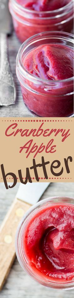 This healthy no-sugar Cranberry Apple Butter is a pure gorgeous fruit spread that perks up toast biscuits muffins and scones you can even mix it into yogurt or bake with it. Even better you make it right in the crock pot! Jelly Recipes, Jam Recipes, Canning Recipes, Apple Recipes, Sauce Recipes, Diet Recipes, Vegan Recipes, Flavored Butter, Homemade Butter