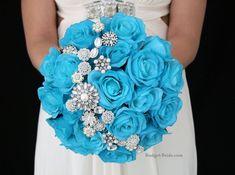Malibu blue wedding flowers with Jewels. Complete wedding flower package with… Wedding Flower Packages, Blue Wedding Flowers, Bridal Flowers, Flower Bouquet Wedding, Wedding Colors, Bridal Brooch Bouquet, Brooch Bouquets, Bride Bouquets, Bridesmaid Bouquet