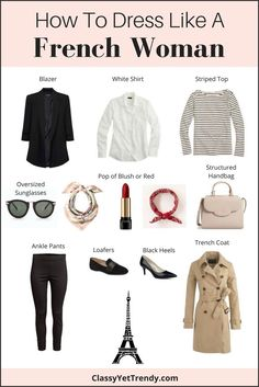 How To Dress Like a French Woman (Trendy Wednesday - Classy Yet Trendy - Passion for fashion - Find out what items you need in your closet to dress like a French Woman! French women have such gr - French Fashion, Look Fashion, Paris Fashion, Womens Fashion, Fashion Tips, Minimalist Fashion French, Fashion Black, Fashion 2018, Fashion Styles